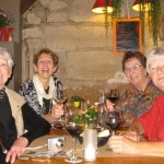 The old broads at Lorie's having French onion soup.  It was excellent.  Our waiter, Flo, took the picture.